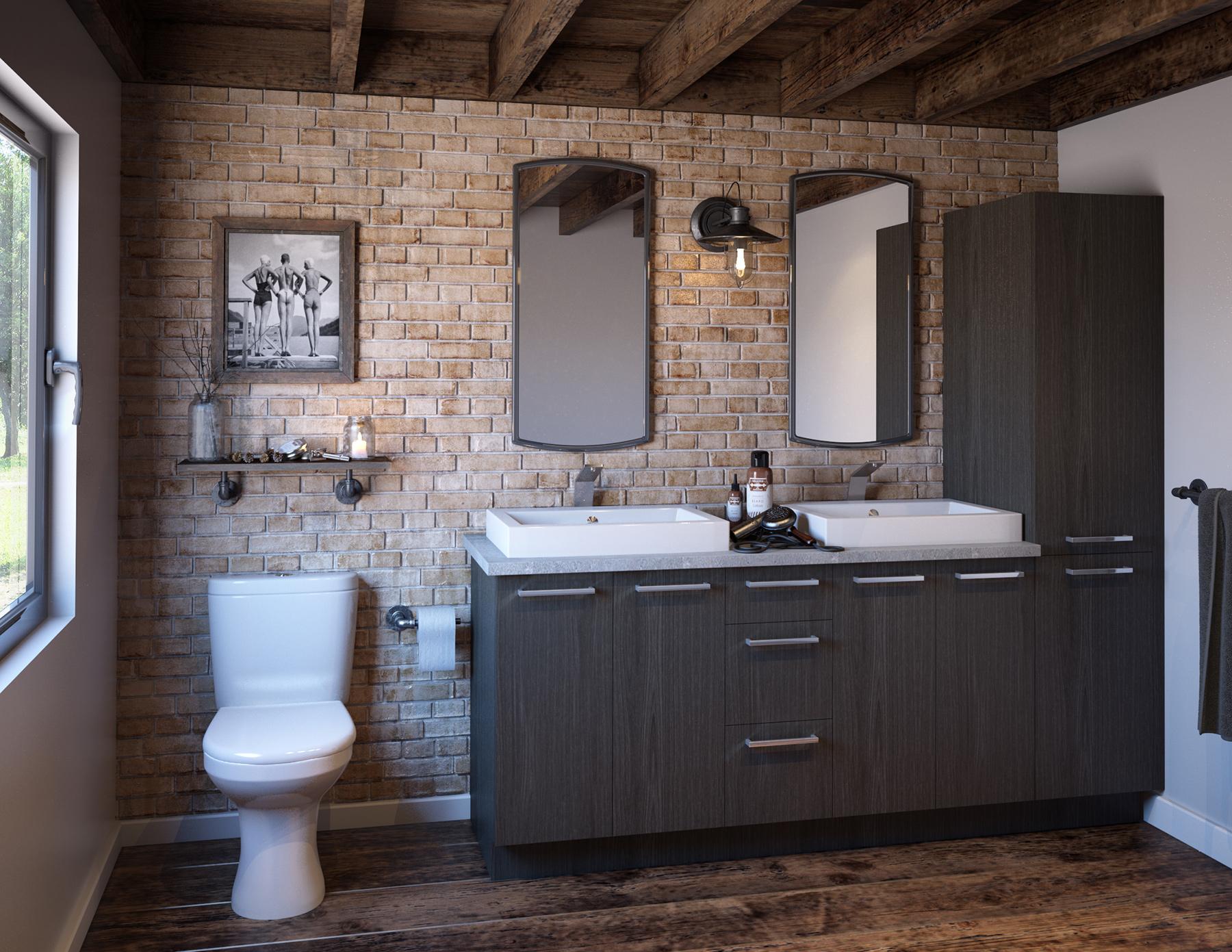 Salle De Bain Avec Douche Et Baignoire D'Angle ~ armoires salle de bain 3d industriel illustration 3d photor aliste