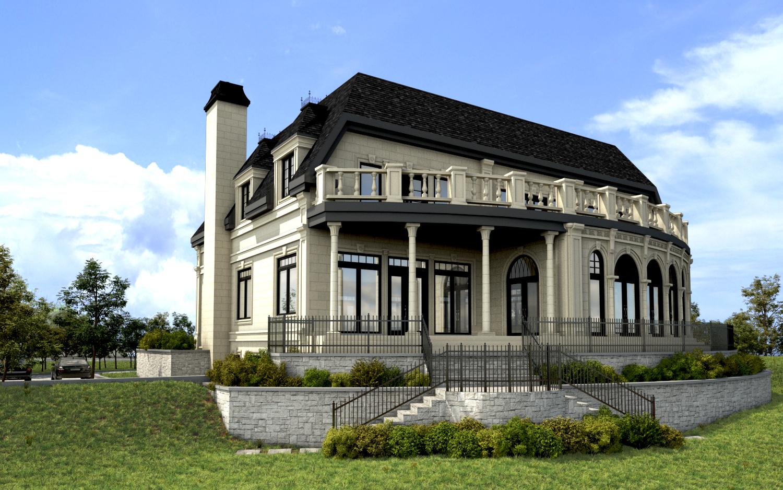 Maison 3d montr al habitation prestige 3d b ton avac pierre for Dessin 3d maison