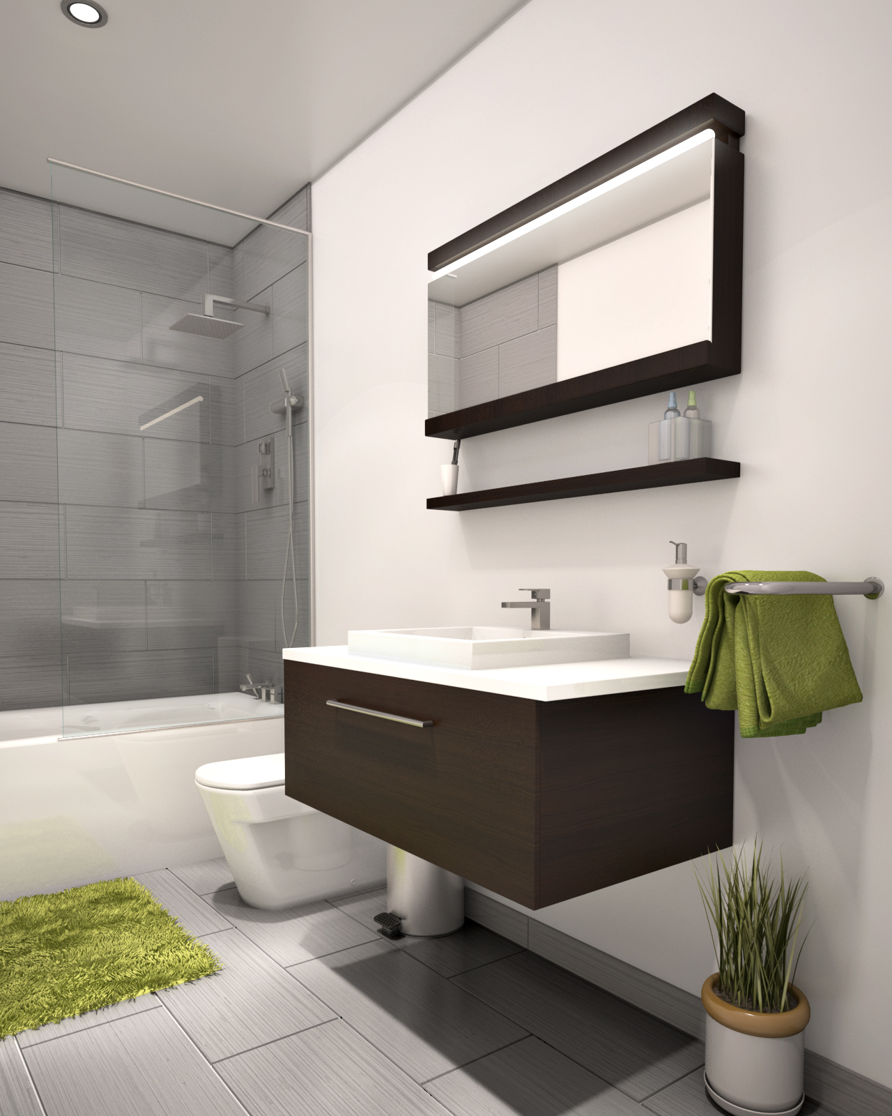 bain condo salle de bain douche 3d. Black Bedroom Furniture Sets. Home Design Ideas