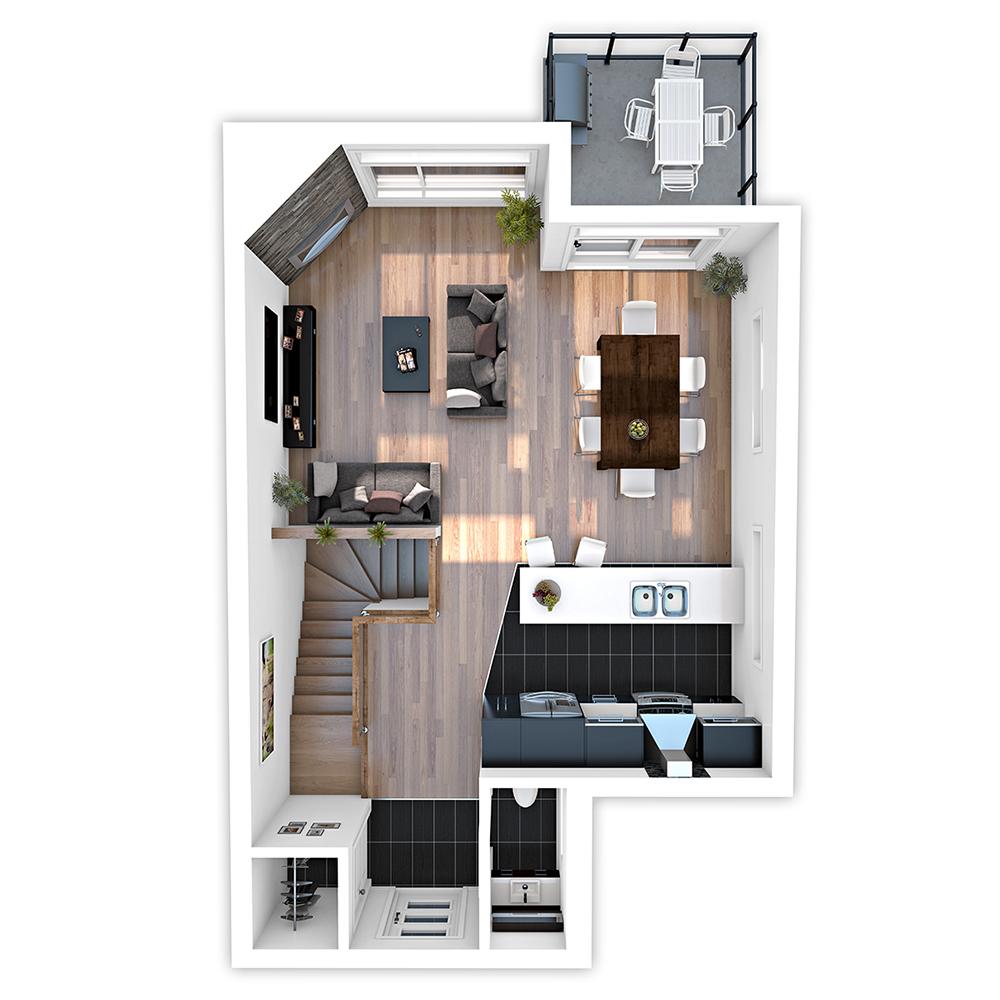 vue de plancher 3d fond de plan rez de chauss e tage montr al. Black Bedroom Furniture Sets. Home Design Ideas