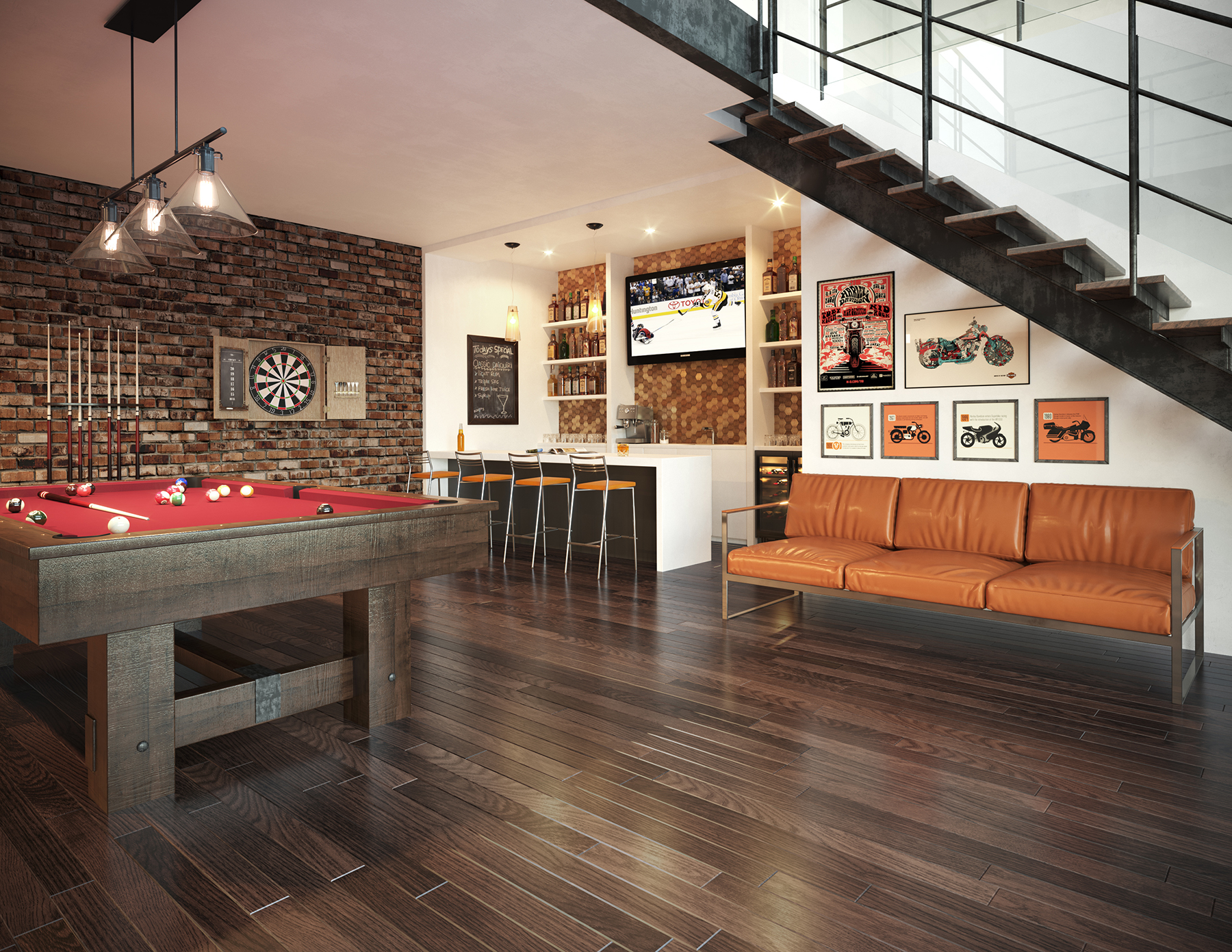 salle de billard bar sous sol illustration 3d photor aliste montr al. Black Bedroom Furniture Sets. Home Design Ideas