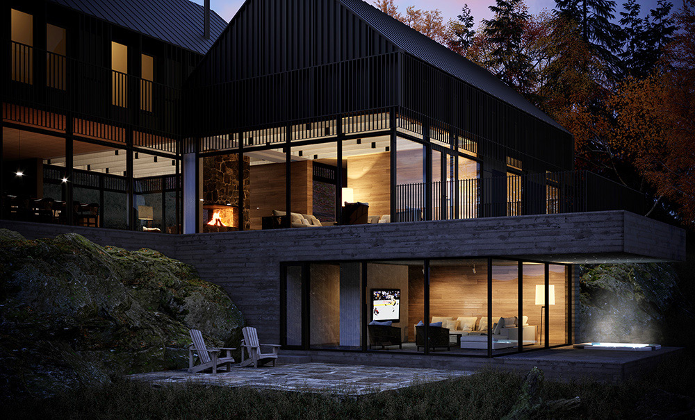 Mont-Tremblant, Lac Tremblant, Maison, architecture 3D, Montréal, Québec