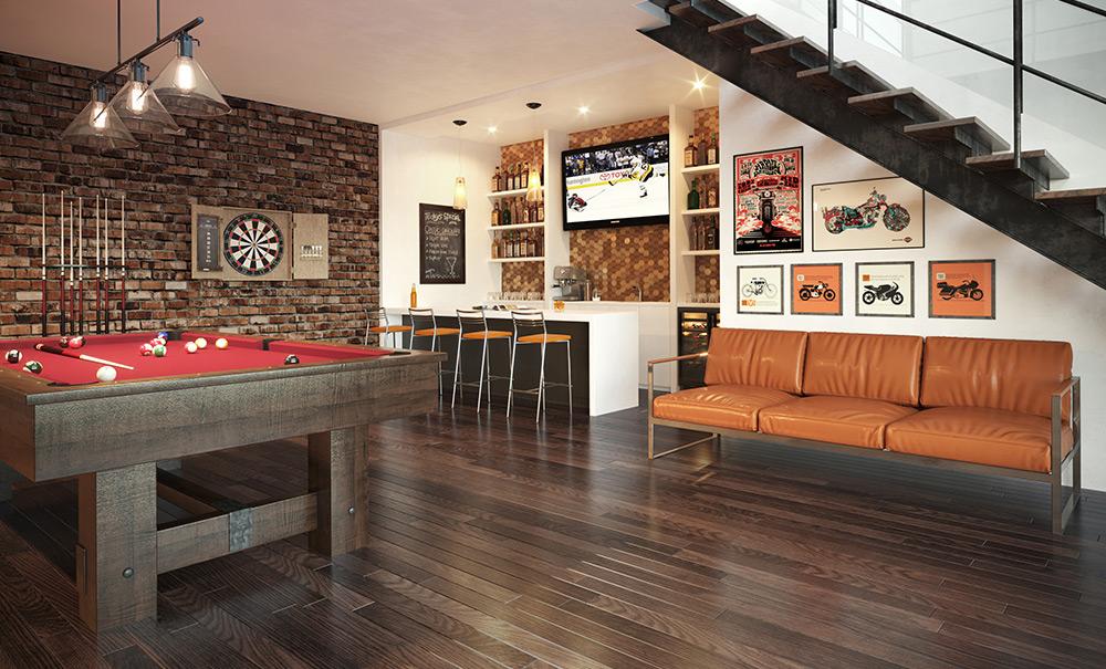 Plancher bois franc, Wickham, Salle de billard, rendu photo-réaliste, 3d rendering, Montréal, Québec
